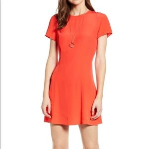 Something Navy bright coral mini dress